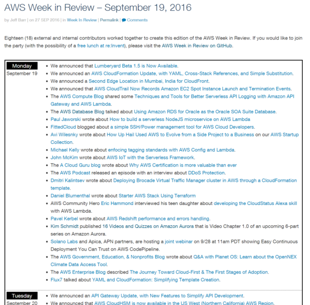 AWS Week in Review