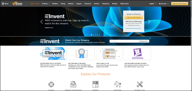 Screenshot of AWS Home Page