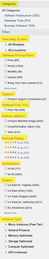 Screenshot of AWS Marketplace Left Filter Menu