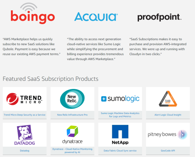 "Screenshot of ""Featured"" SaaS Subscription Products"