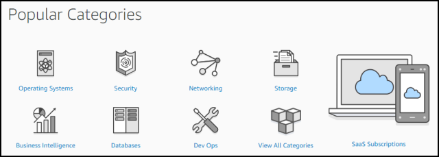 "Screenshot of AWS Marketplace ""Popular Categories"" Section"