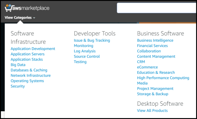 "Screenshot of Updated ""View Categories"" in AWS Marketplace"