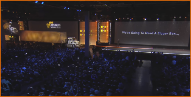 AWS Snowmobile Shown During AWS re:Invent Keynote with Andy Jassy