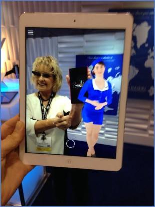 DAQRI's 4D Human Stewardess and Me Through an iPad!