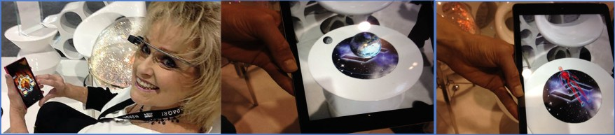 """DAQRI's """"Skeleton to Outer Space"""" App with Me Sitting Beside It in First Image"""