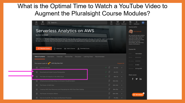 The Optimal Time to Watch the Explainer Video to Augment the Pluralsight Course